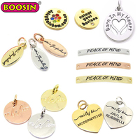 Personalized wholesale custom logo stamped metal tag charms, letter word phrase tags