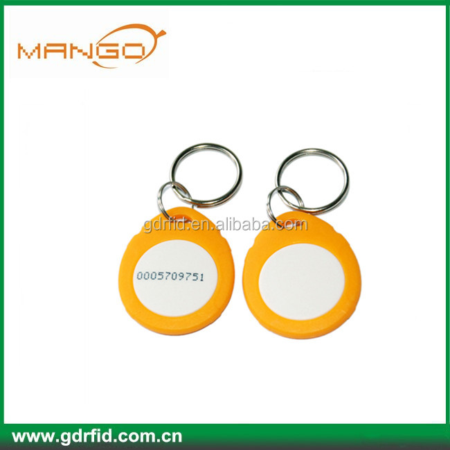 Logo printed EM4305 rewritable 125khz rfid key fob waterproof abs keyfob for bus payment system/card payment