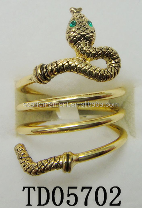 Latest Style Zinc Alloy Fashion Stretch Round Finger Ring Custom Bulk Order Antique Gold Snake Hoops Dannijo Rings