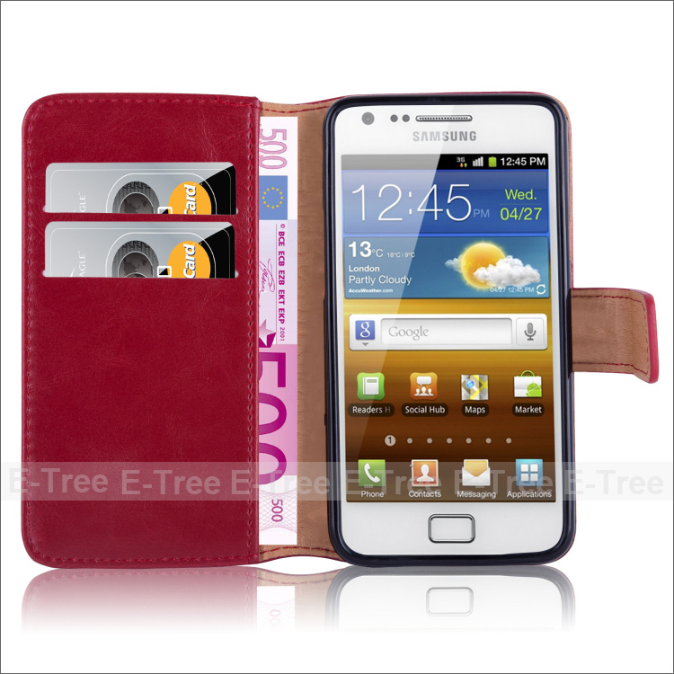 High Quality Crazy Horse Pattern Leather Phone Case for Samsung Galaxy S2