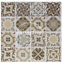 Brown square low price kitchen backsplash wall tile art chip 73x73mm for kitchen backsplash inkjet crystal mosaic glass plates