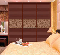Cheap closet wardrobe sliding louvered doors with frosting pattern golden mirror