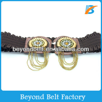 Ladies' Fabric Textured Elastic Stretch Dress Belt with Bead Decoration