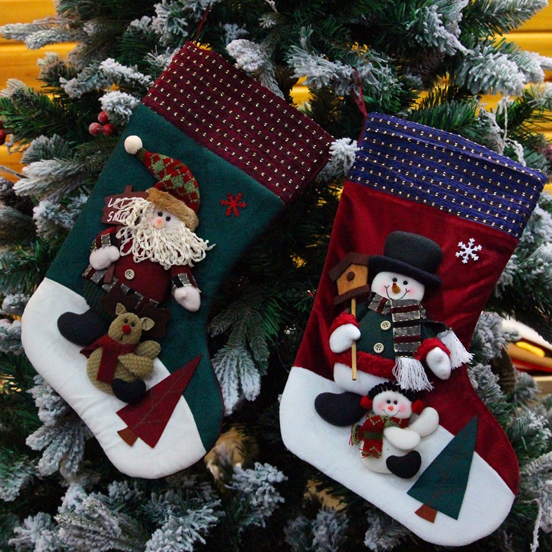 Good Quality red plush christmas stocking gifts