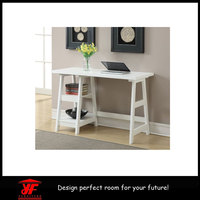 White useful wooden computer desk with assembly instructions