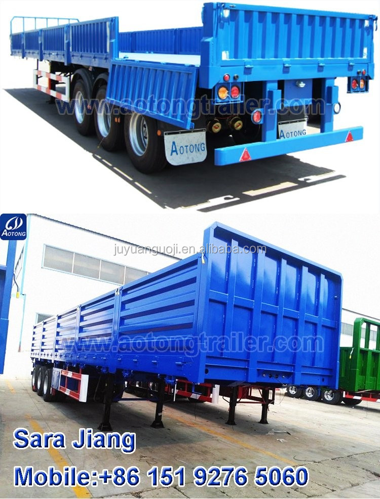 Carbon steel curtain side wall semi trailer/ 40ft flatbed semi-trailer/3 axle Side panel truck trailer transport bulk cargo