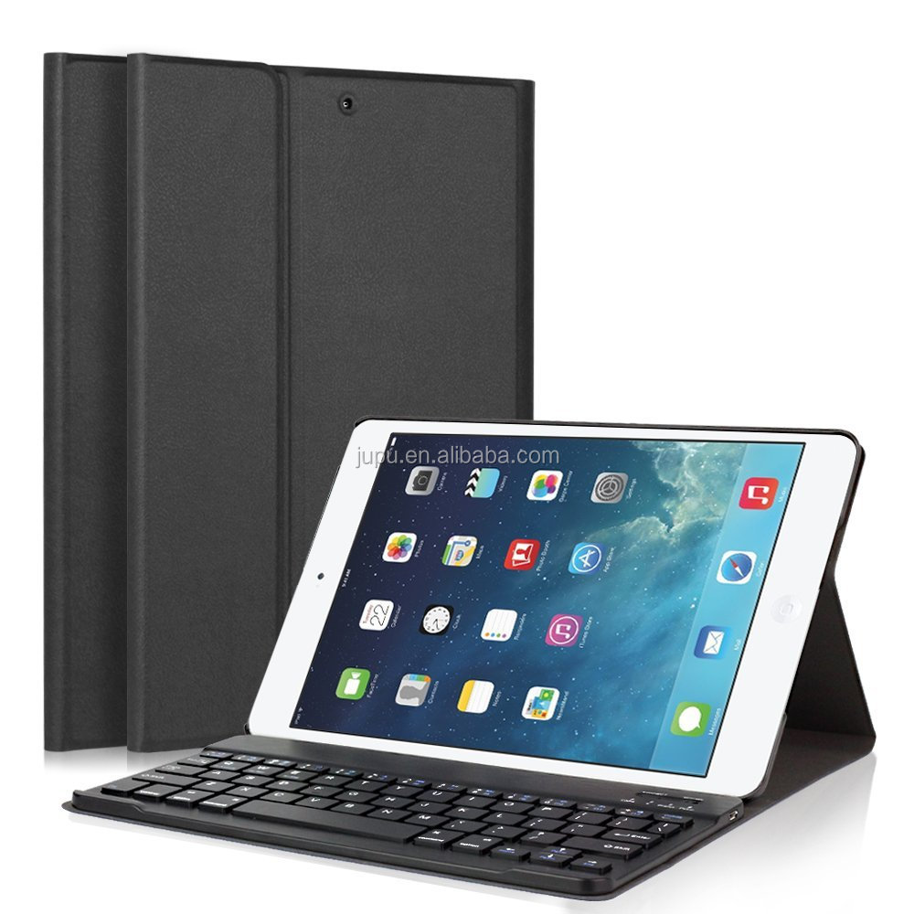Ultra Slim Stand Cover+Magnetical Detachable Wireless Bluetooth Keyboard for Apple iPad Air1/Air2/New iPad 9.7 inch 2017(Black)