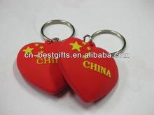 2015 promotional gift heart shaped soft pvc keychain