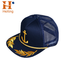 Get free sample delivery within 15 days custom 5 panel caps rope 3d puff foam embroidery logo mesh snapback trucker hats