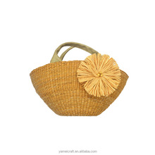 Women tote bag big yellow paper flower bag flat sennit