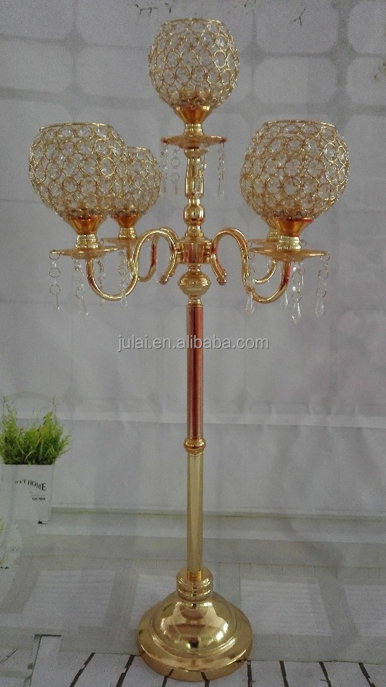Hot wholesale glass candelabra wedding for and