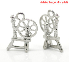 "Silver Tone Spinning Wheel Charm Pendants 18x12mm(3/4""x1/2"")"