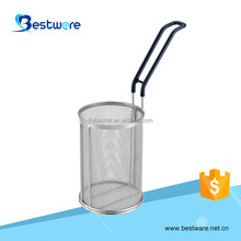 S/S 201 PVC Handle Polished Cylindrical Mesh Strainers Mini Pasta Basket