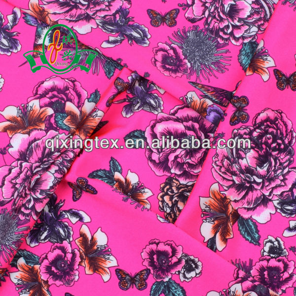 elastic lycra nylon flower printed fabric for swimsuit/bathing suit