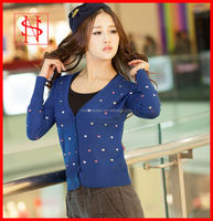 Embroidery sweater cardigan cute patterns 100 cotton clothing women