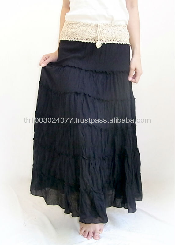 Black Layer Long Skirt With Crochet Waist