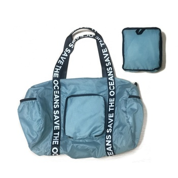 Custom design recycled foldable travel duffel rpet bag