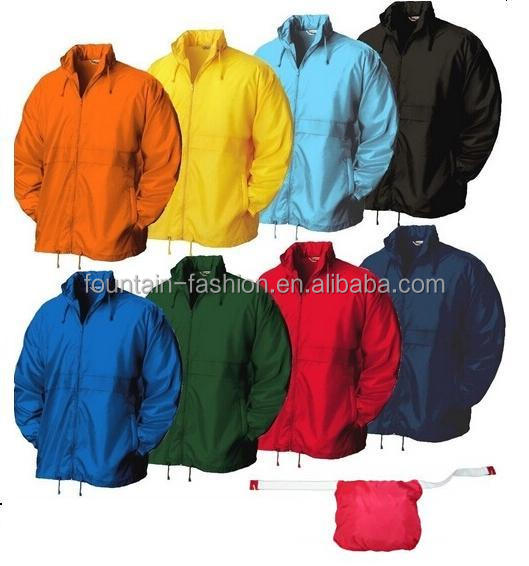 190T nylon Promotion windbreaker/Nylon raincoat foldable with logo