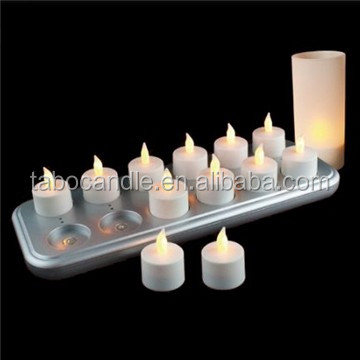 Rechargeable LED Flickering Amber Tea Light Candles