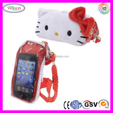 A319 Universal Smartphone Pouch Case Plush Hello Kitty Cell Phone Case with Strap