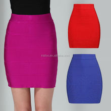 2014 Red short bodycon rayon plaid skirt