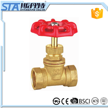 ART.4014 Full size port manual power fogred natural brass color stem brass gate valve for water stop oil gas control valve