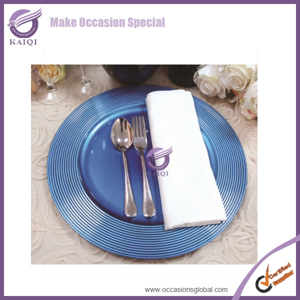 18584 royal blue party new hot Saturn Matte plastic Charger Plate