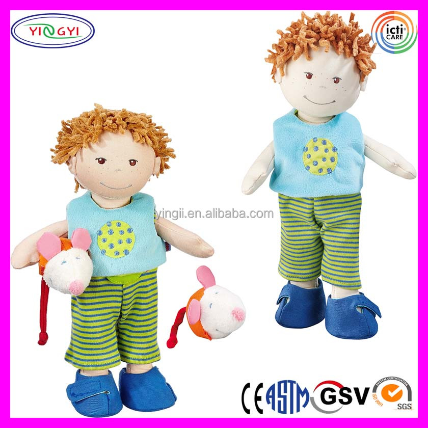 A923 Soft Boy Doll Bobby Holds Mice Stuffed Plush Toddler Bobby Doll