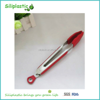 Best selling durable high temperature resistance red silicone tongs