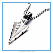 MECY LIFE new design personlized stainless steel arrowhead pendant