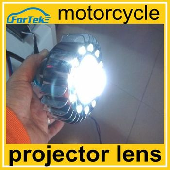 Super bright motorcycle led projector headlights bi-xenon hid projector lens