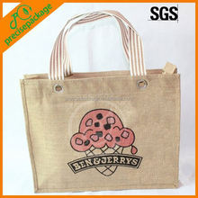 100% natural jute shopping hand bag with cartoon logo