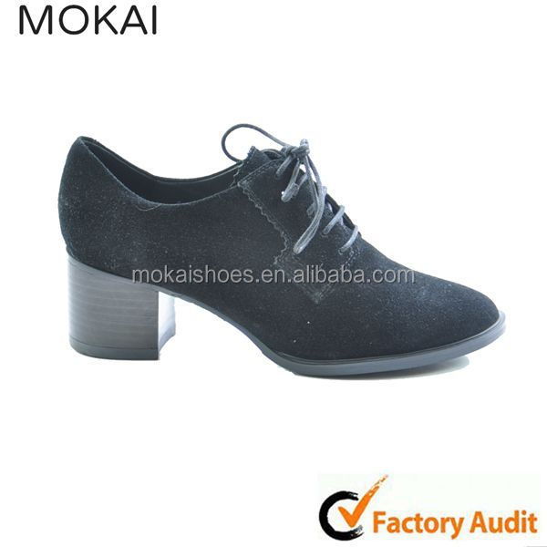 MK014P-1 Black kid suede ladies , ladies low heel suede shoes ,latest lace-up shoes for women