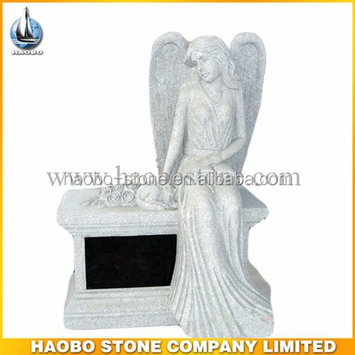 Haobo Grantie Sitting Angel Headstone With Bench