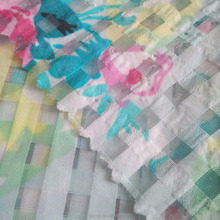 polyester digital printing fabric whosale stripe organza fabric for fashion garment/dress