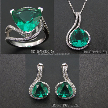 Whoelsale Spinel Sets Jewelry Green Stone Fine Charm DR01407192S-TL-G