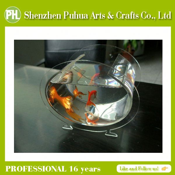 Deluxe Clear Acrylic Aquarium Floating Plastic Fish, Unique Betta Bowls, Tank For Fish