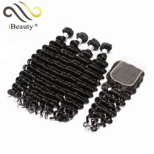 Deep Wave Virgin Hair Bundles With Lace Closure For African Women Human Hair Extensions