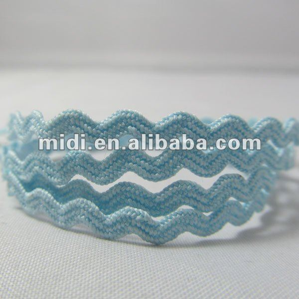 Promotion Polyester 1/8 Light Ric Rac blue gingham ribbon