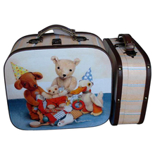 plush toy doll patterns Lovely style cute MDF wood suitcase for girls and boys