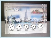 2015 NEW High Quality Acrylic Home Decor Table Clock World Times Table Clock