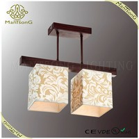 2015 modern fabric cloth shade wood pendant light made by trade assurance supplier