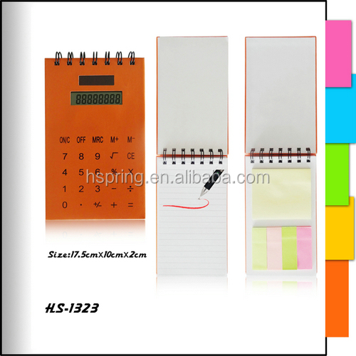 High quality Logo Print solar notebook calculator with pen