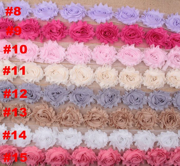 "2.5"" Shabby Chiffon Rose Trim Frayed Flowers DIY Baby Children Accessories"
