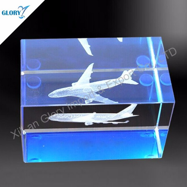 Blue Paperweight 3d Laser Crystal Cube Plane For Business Gift