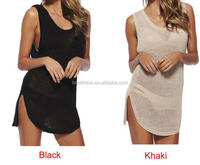 Sexy Women Hot Summer Style Free Size Knitting Sheer Black and White Cover-Ups Top Knit Beach Dress Sleeveless Blouse