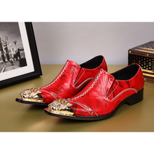 NA046 Korean Style Men Dress Shoes Metal Pointed Toe Oxfords Shoes Men Red Leather Loafers Shoes