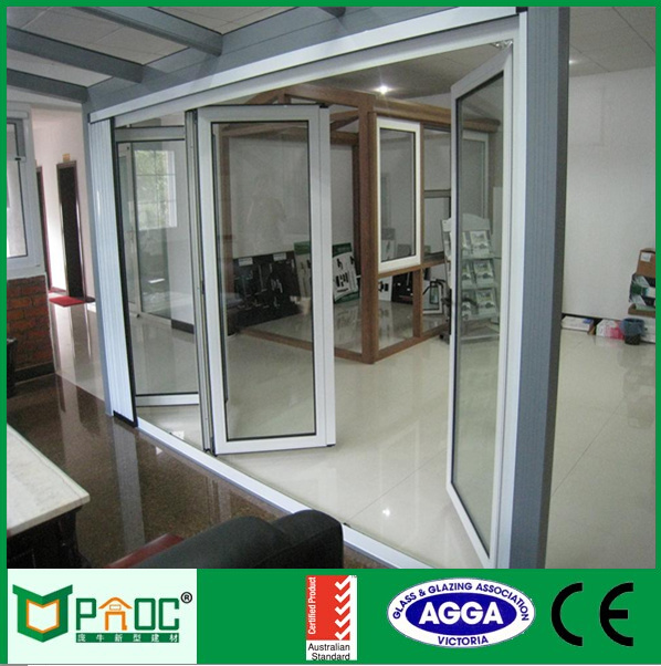 Frameless folding glass door safety door design with grill