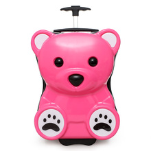 2018 New Cute Cartoon Bear Design Wholesale 18 Inch ABS PC Kids Hard Shell Case Trolley Luggage Bags