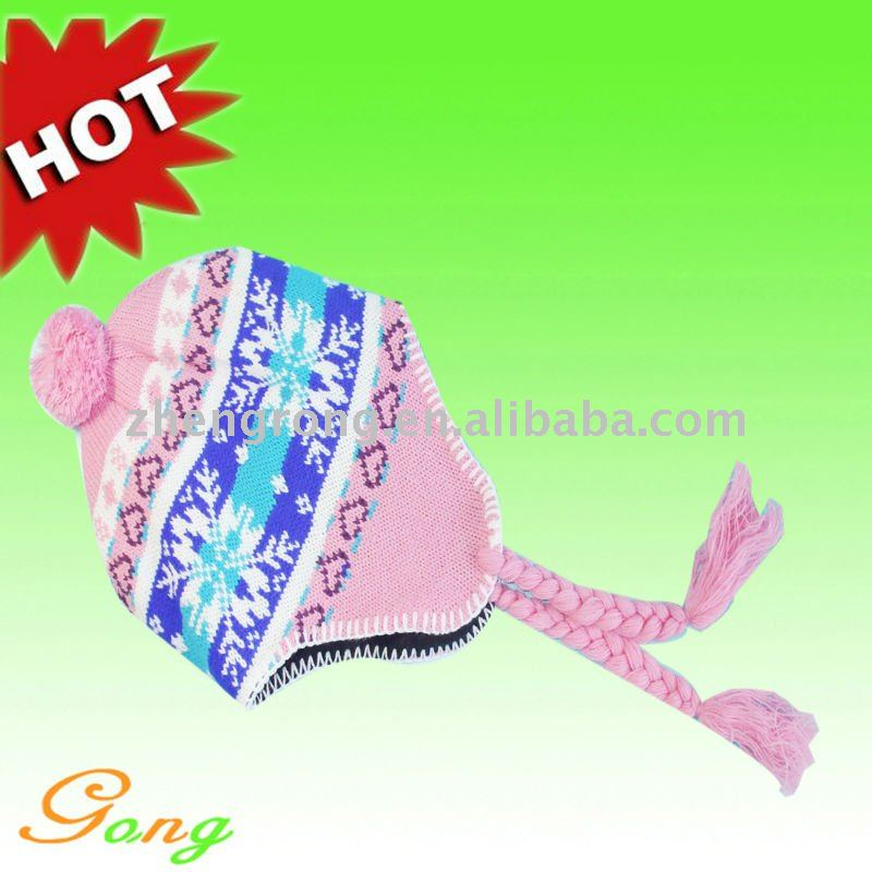 Hot Sale Knitted 100% Acrylic Jacquard Earflap Hat